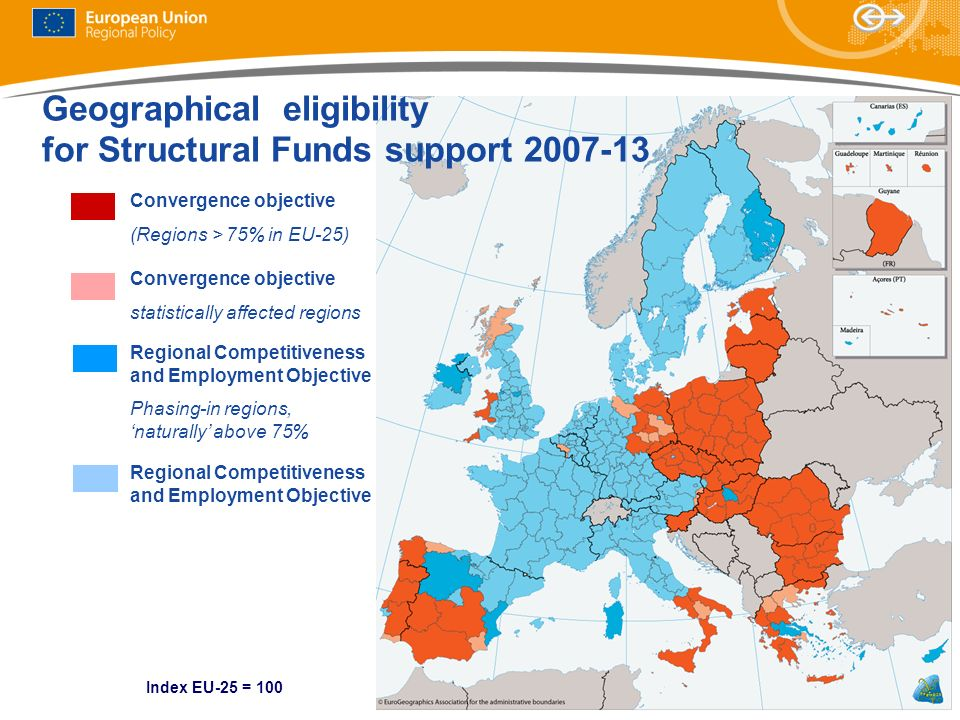 Geographical eligibility for Structural Funds support 2007-13