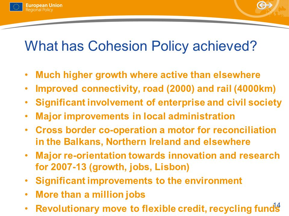What has Cohesion Policy achieved