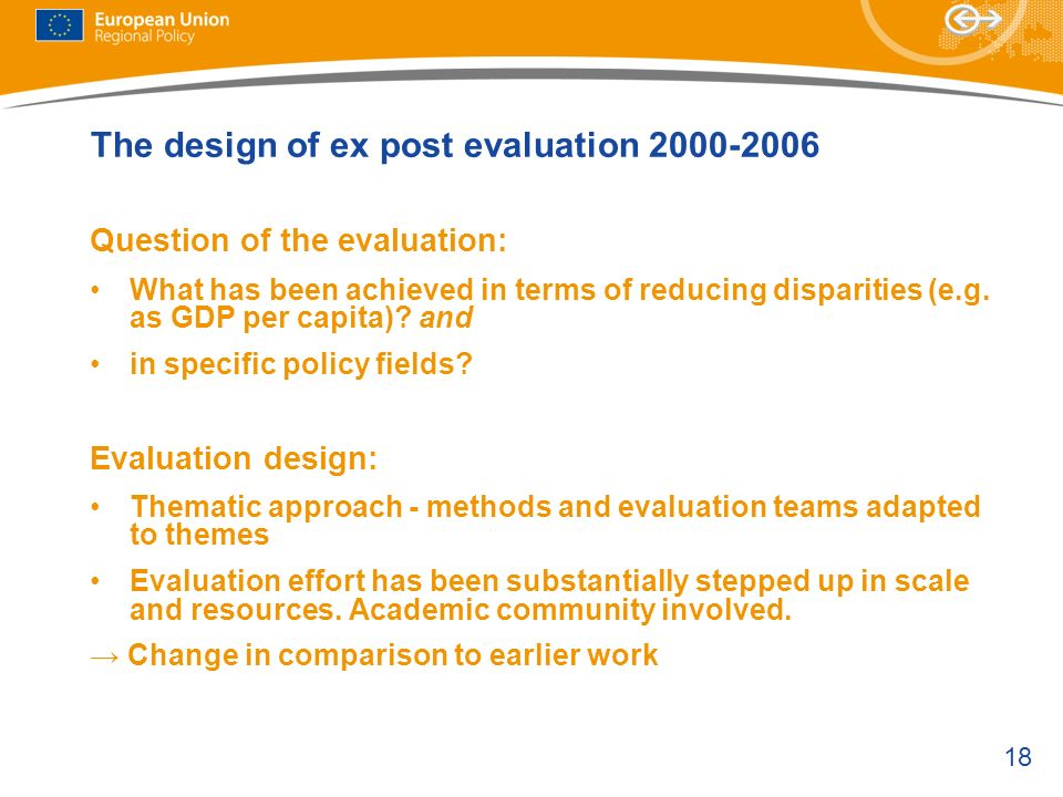 The design of ex post evaluation 2000-2006