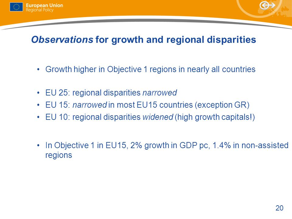 Observations for growth and regional disparities