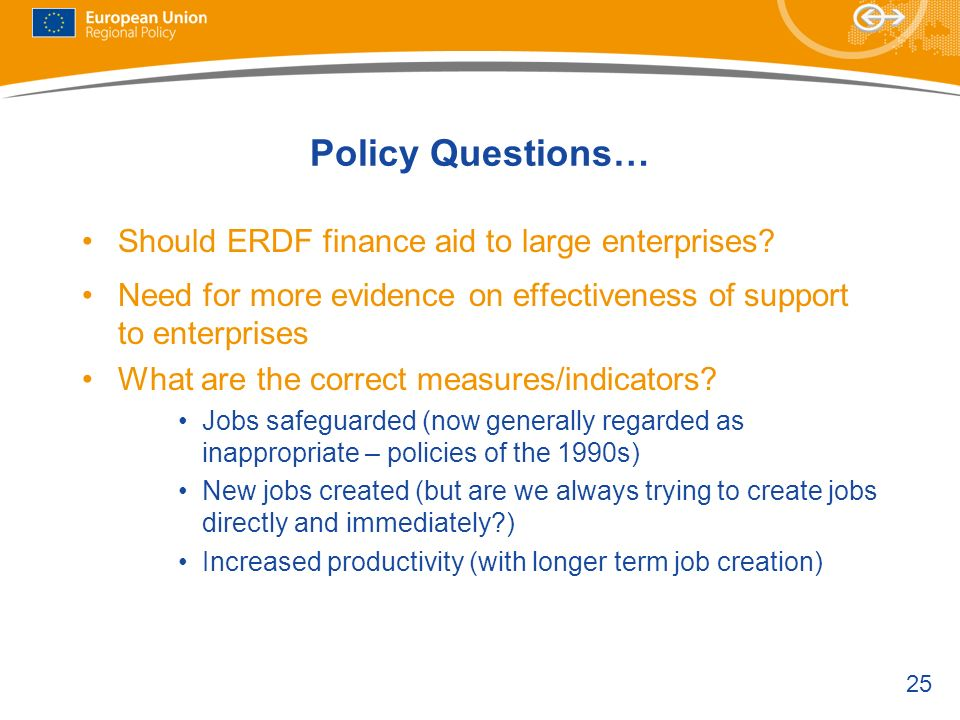 Policy Questions… Should ERDF finance aid to large enterprises
