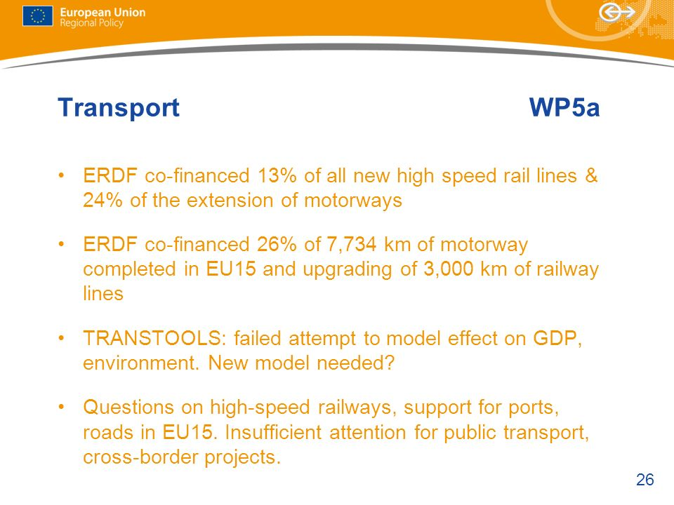Transport WP5a ERDF co-financed 13% of all new high speed rail lines & 24% of the extension of motorways.