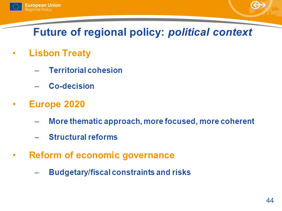 Future of regional policy: political context