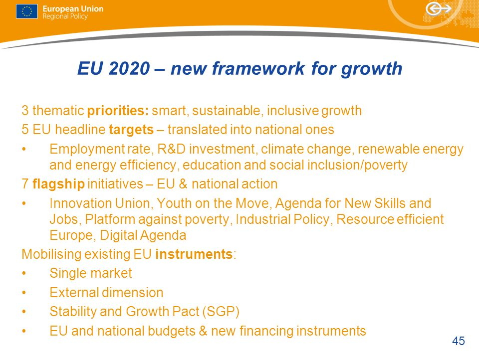EU 2020 – new framework for growth