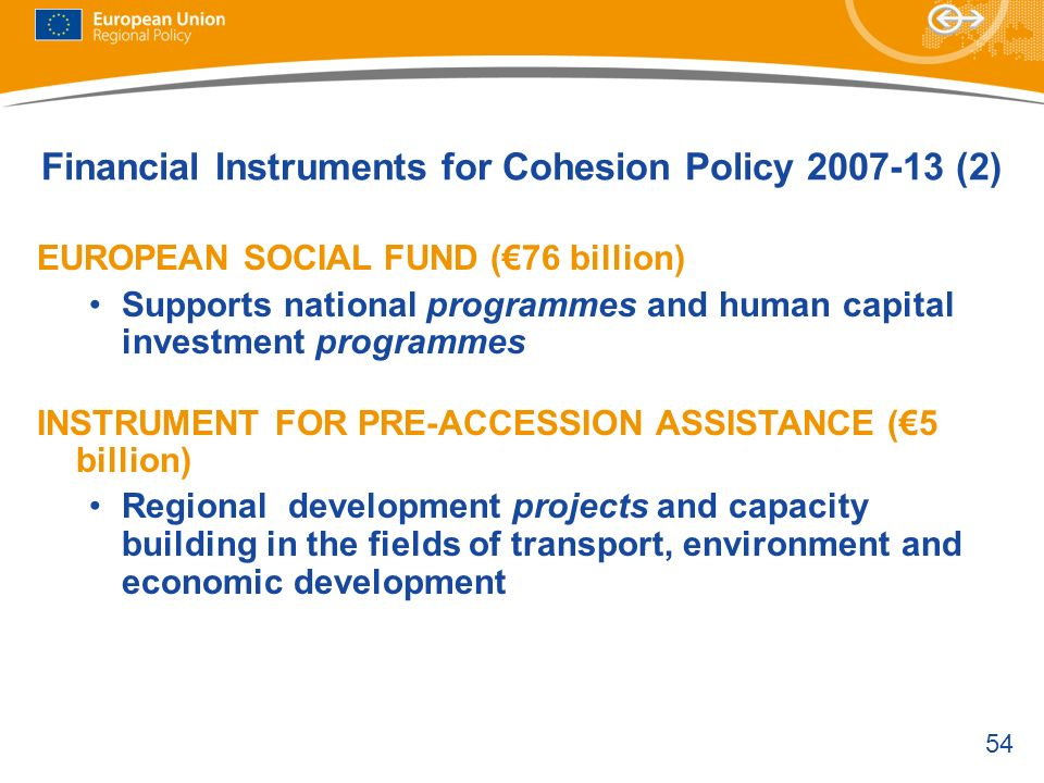 Financial Instruments for Cohesion Policy 2007-13 (2)