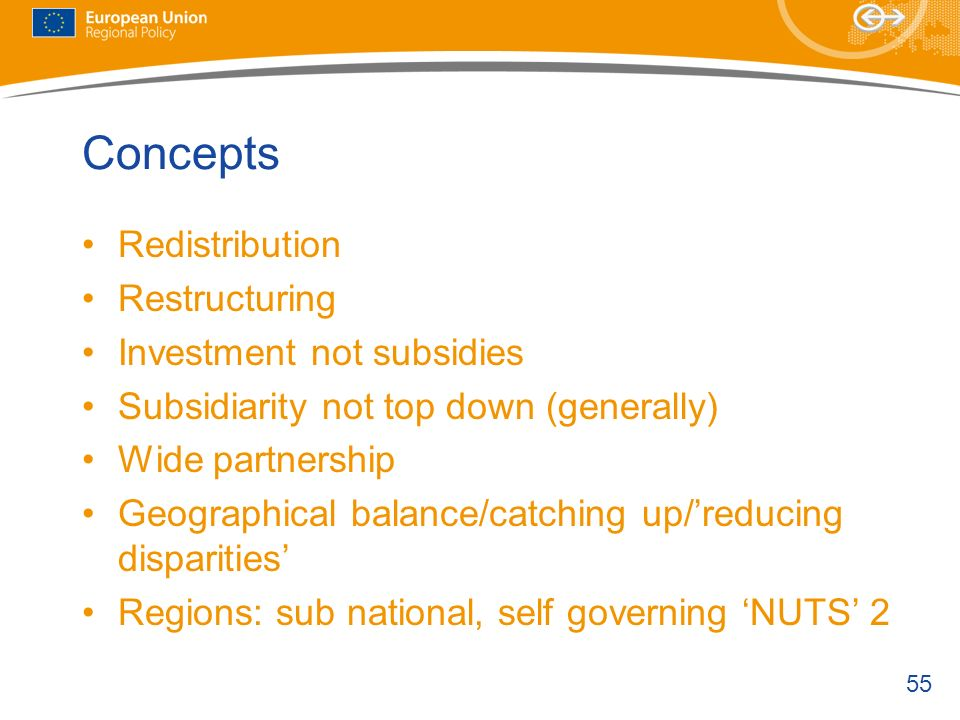 Concepts Redistribution Restructuring Investment not subsidies
