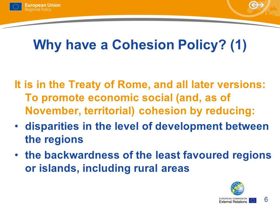 Why have a Cohesion Policy (1)