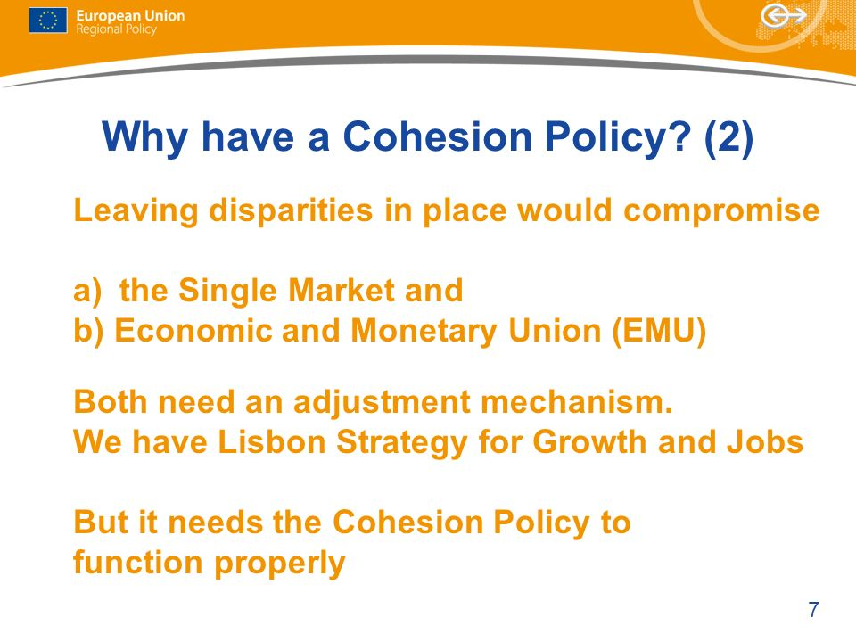 Why have a Cohesion Policy (2)