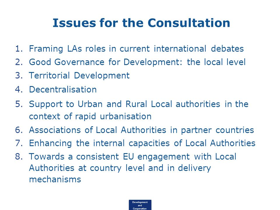 Issues for the Consultation