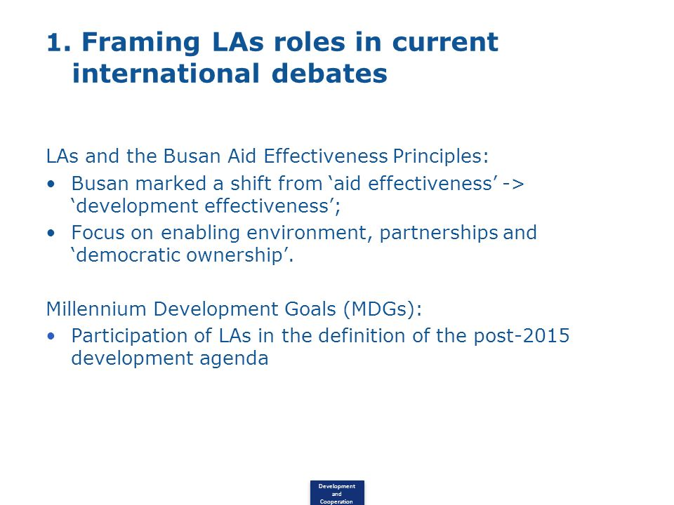 1. Framing LAs roles in current international debates