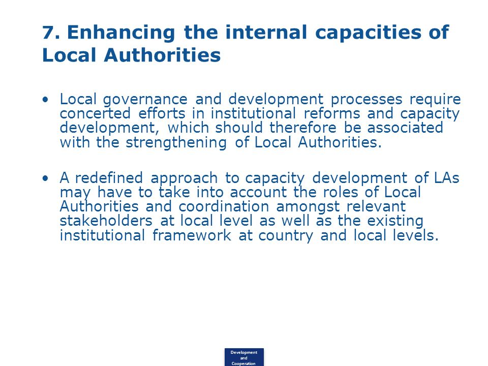 7. Enhancing the internal capacities of Local Authorities