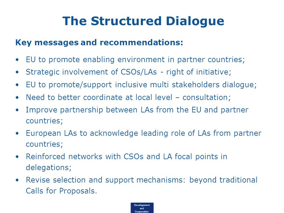 The Structured Dialogue