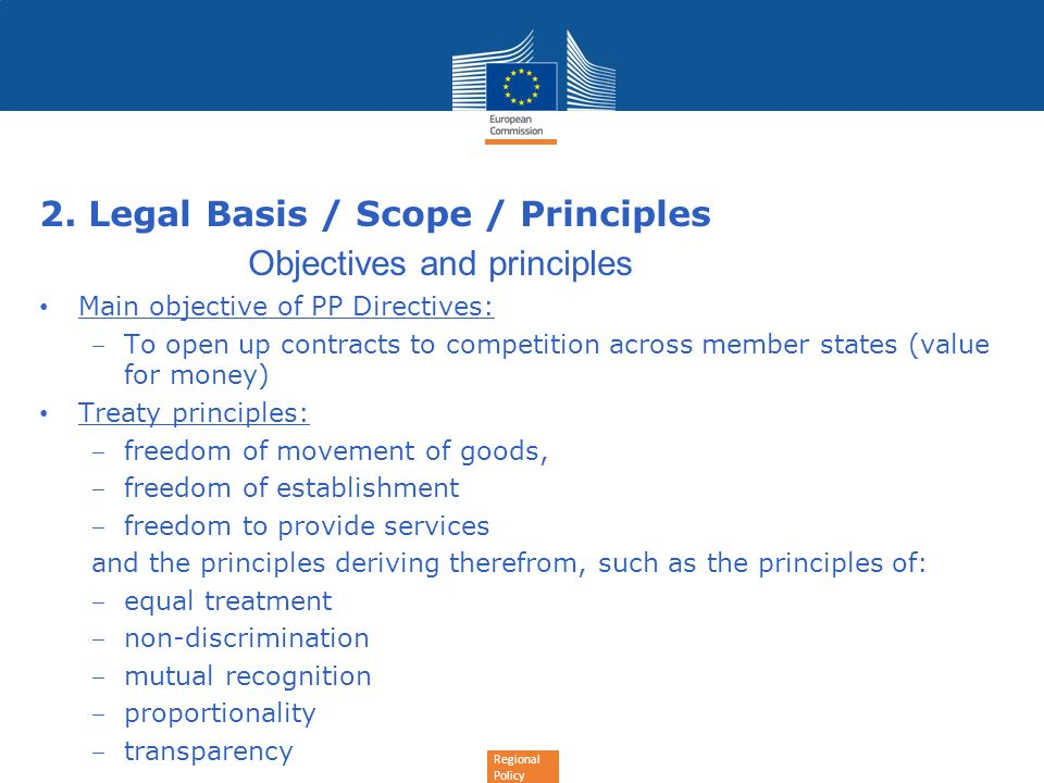 2. Legal Basis / Scope / Principles Objectives and principles