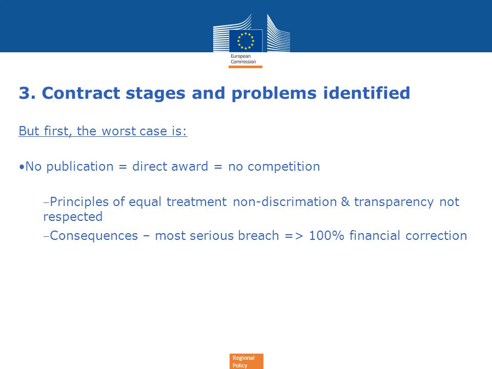 3. Contract stages and problems identified