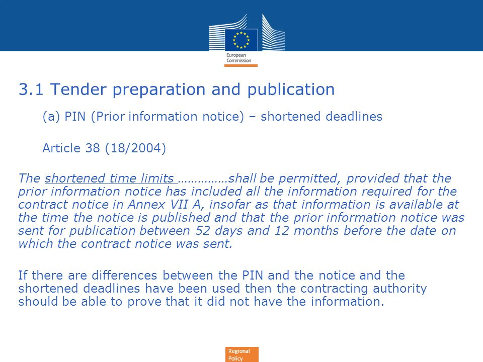 3.1 Tender preparation and publication