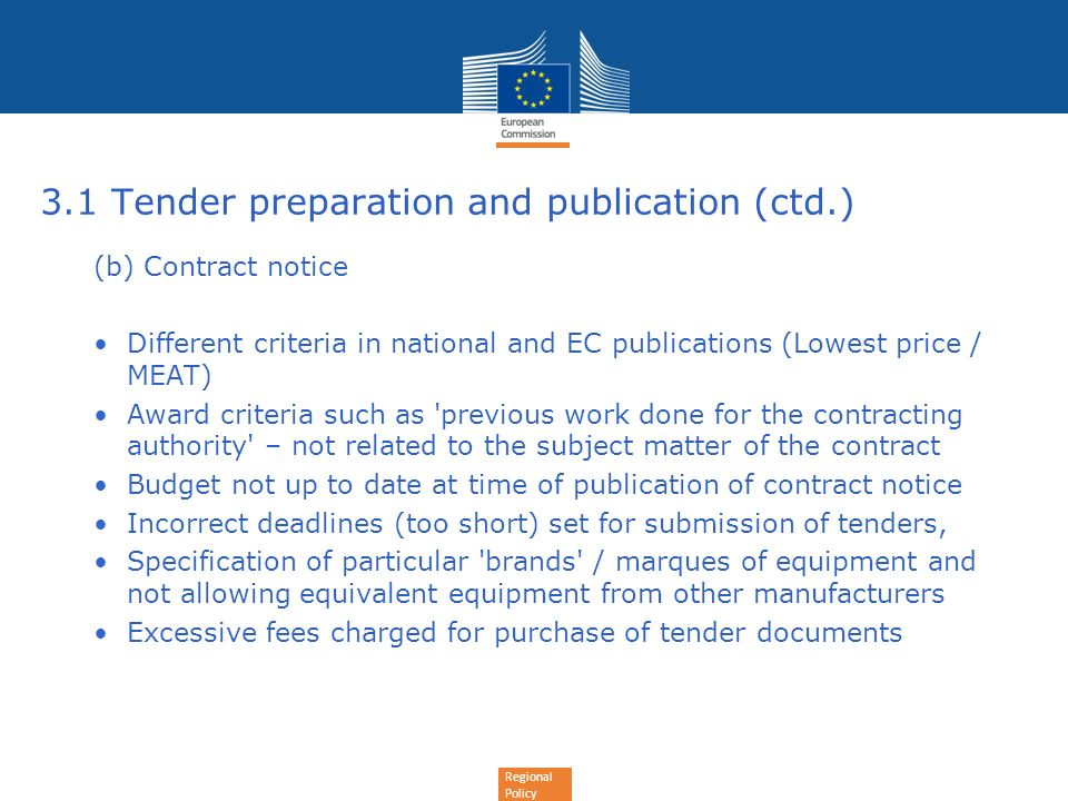 3.1 Tender preparation and publication (ctd.)