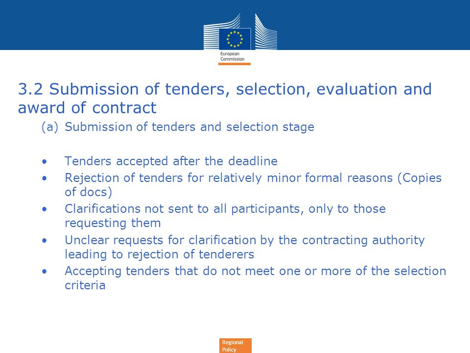 3.2 Submission of tenders, selection, evaluation and award of contract