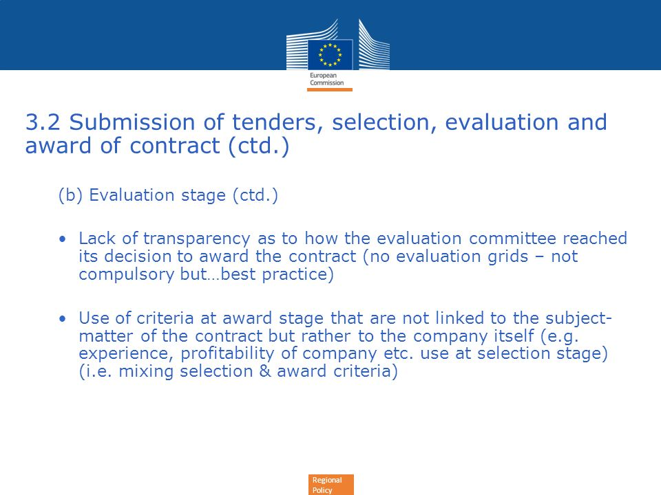 3.2 Submission of tenders, selection, evaluation and award of contract (ctd.)