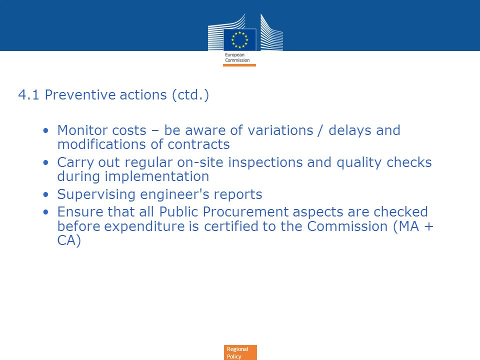 4.1 Preventive actions (ctd.)