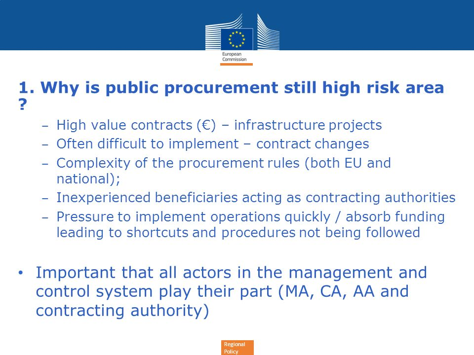 1. Why is public procurement still high risk area