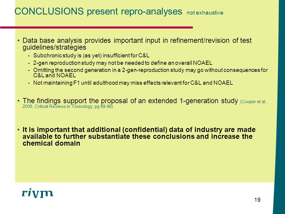 CONCLUSIONS present repro-analyses not exhaustive