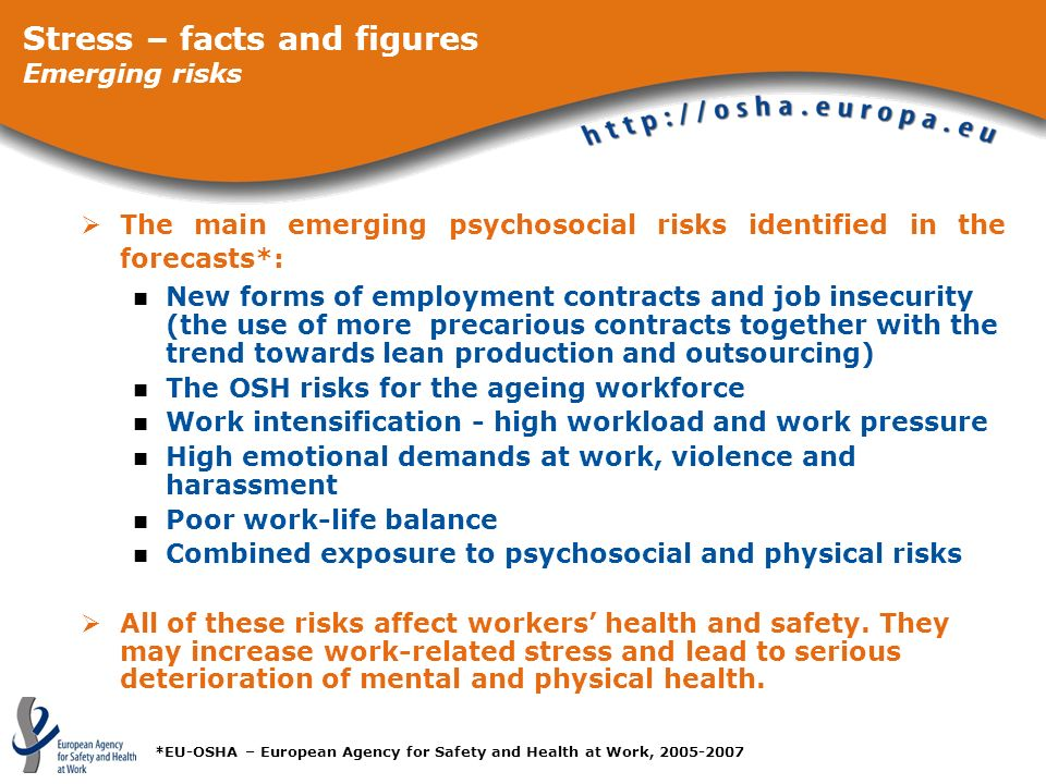 Stress – facts and figures Emerging risks
