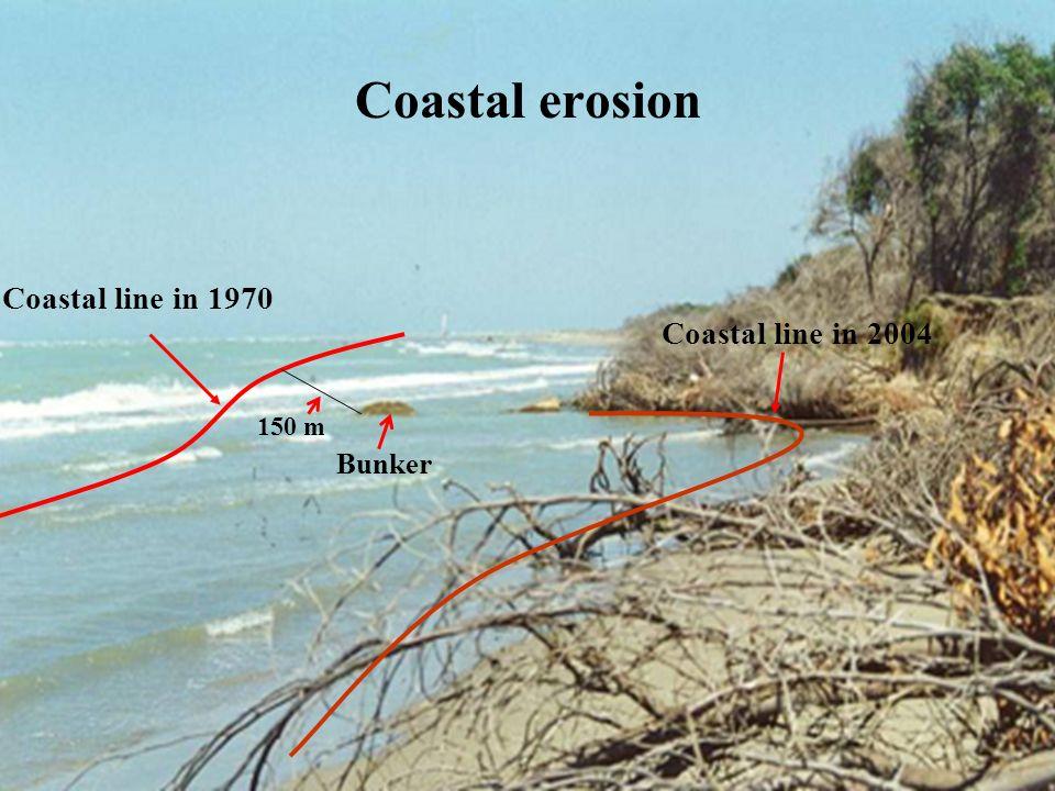 Coastal erosion Coastal line in 1970. Coastal line in 2004. 150 m. Bunker.
