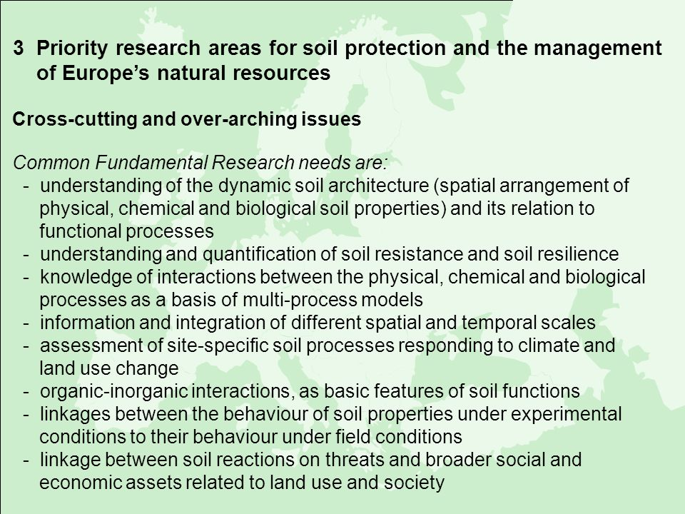 3 Priority research areas for soil protection and the management of Europe's natural resources