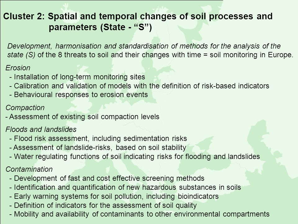 Cluster 2: Spatial and temporal changes of soil processes and parameters (State - S )