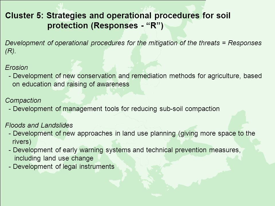 Cluster 5: Strategies and operational procedures for soil protection (Responses - R )