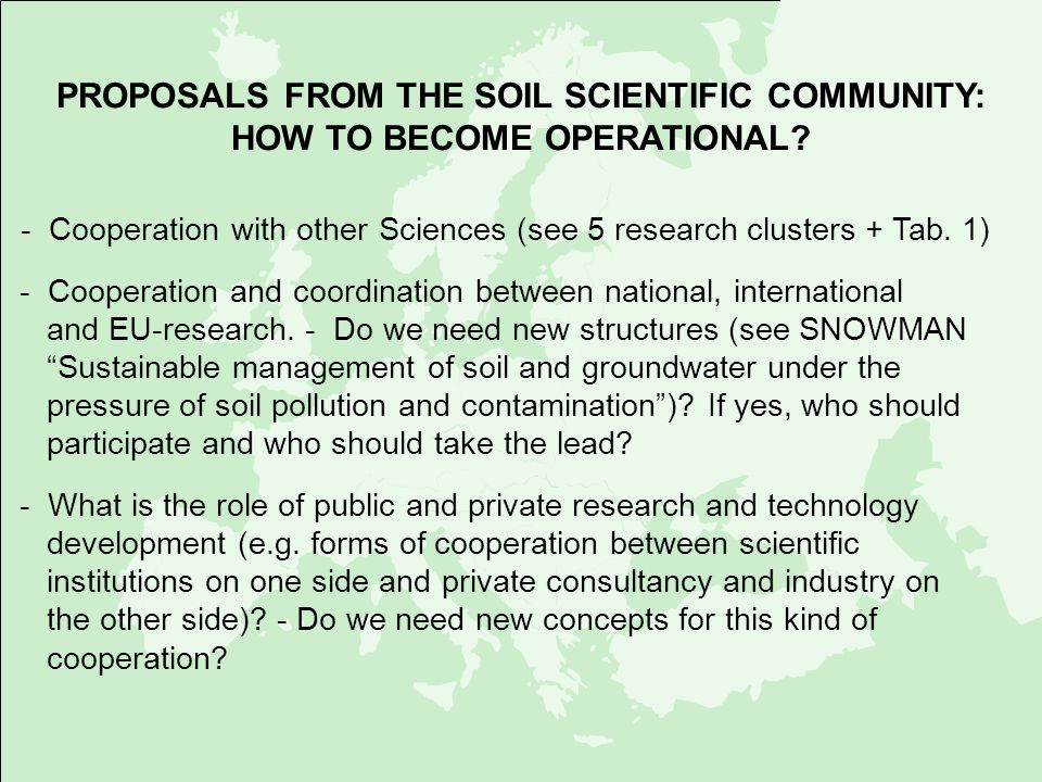 - Cooperation with other Sciences (see 5 research clusters + Tab. 1)