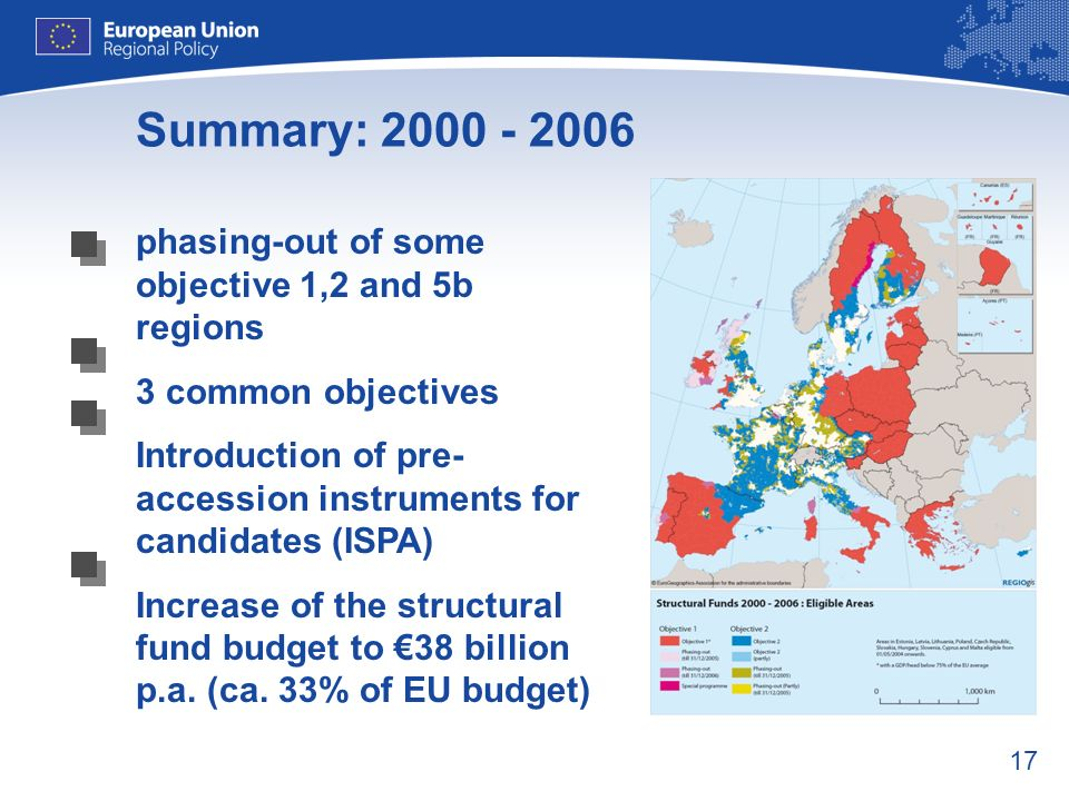 Summary: 2000 - 2006 phasing-out of some objective 1,2 and 5b regions