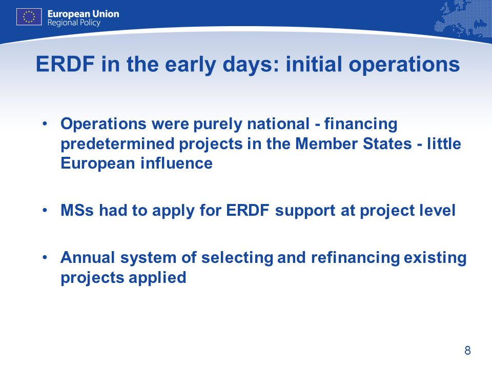 ERDF in the early days: initial operations