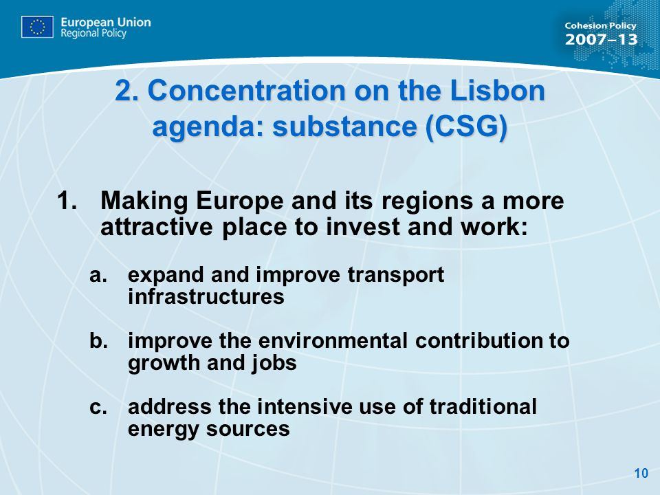 2. Concentration on the Lisbon agenda: substance (CSG)