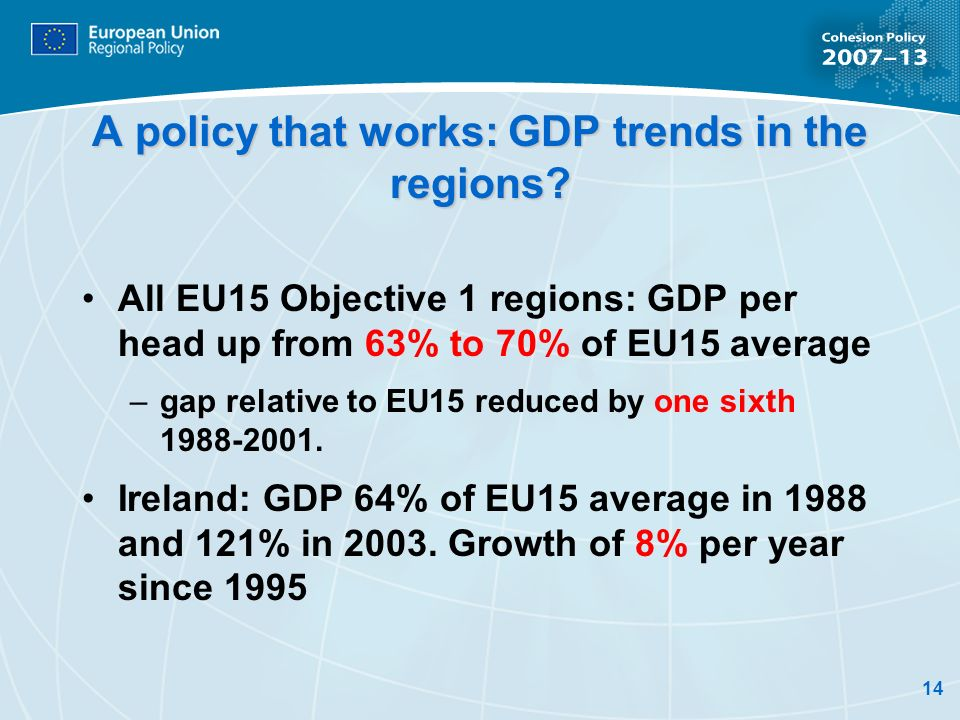 A policy that works: GDP trends in the regions