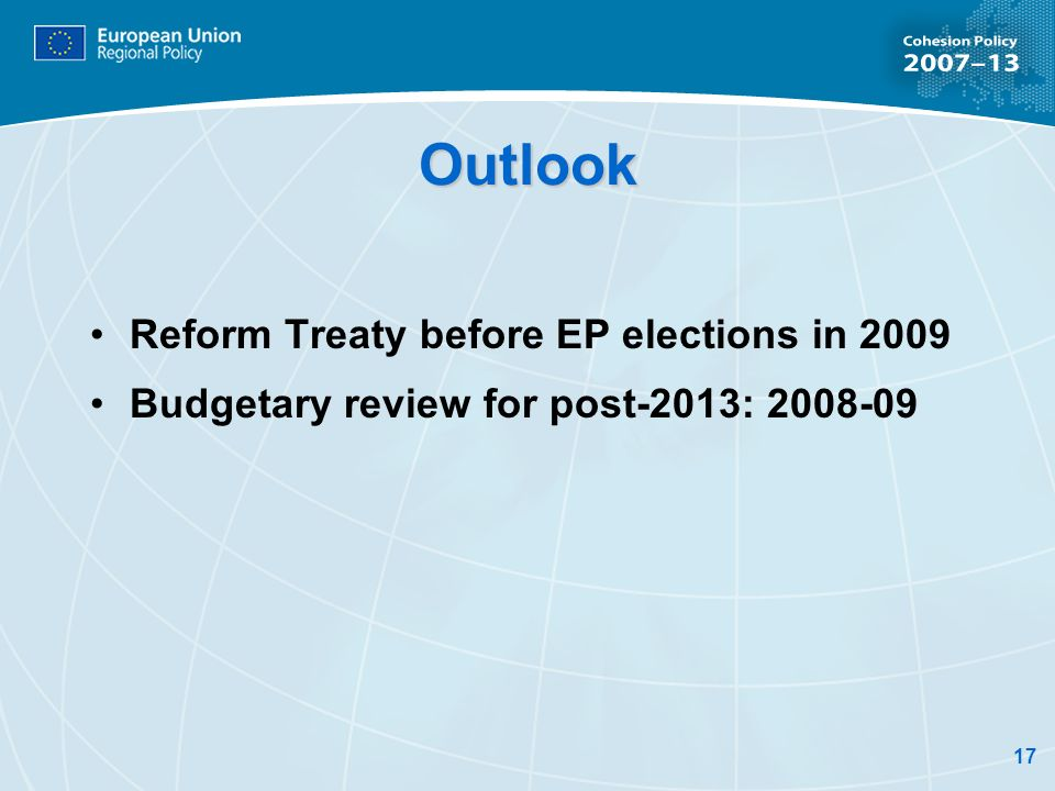 Outlook Reform Treaty before EP elections in 2009