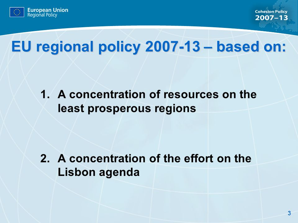 EU regional policy – based on: