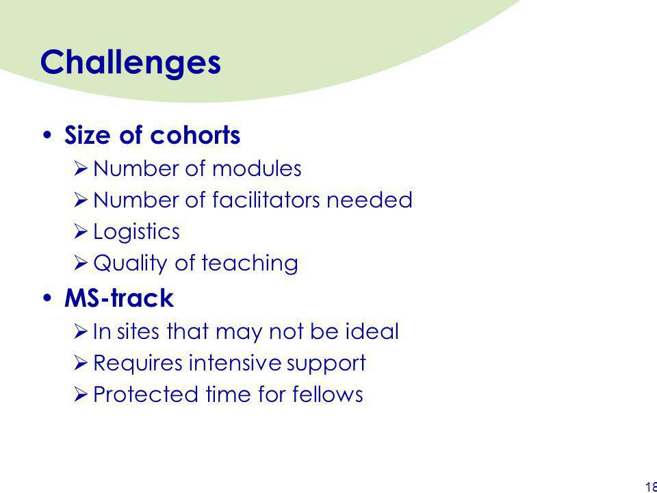 Challenges Size of cohorts MS-track Number of modules