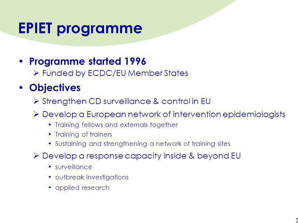 EPIET programme Programme started 1996 Objectives