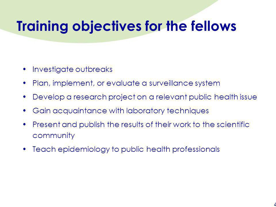 Training objectives for the fellows