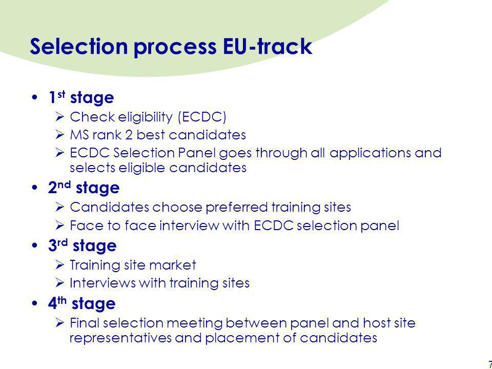 Selection process EU-track