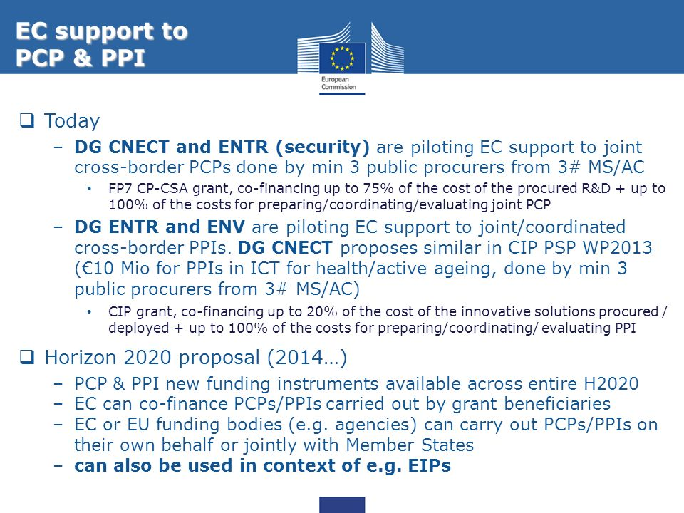 EC support to PCP & PPI Today Horizon 2020 proposal (2014…)