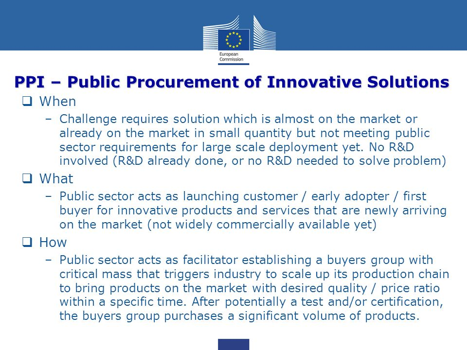 PPI – Public Procurement of Innovative Solutions