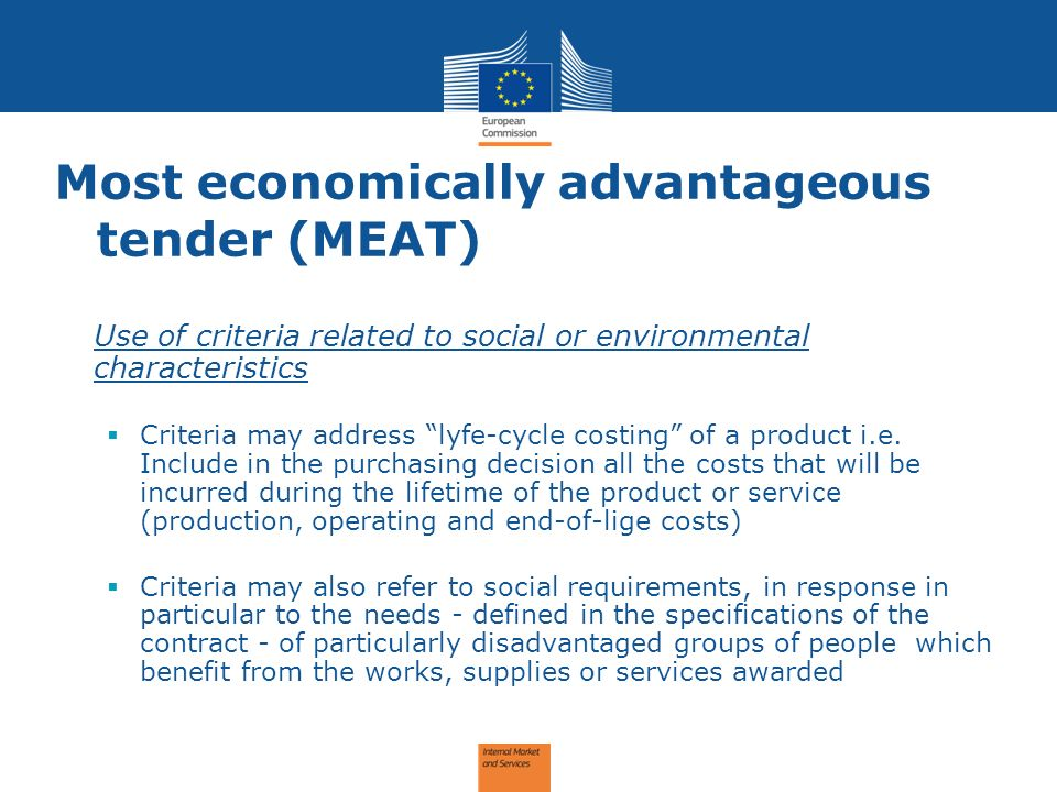 Most economically advantageous tender (MEAT)