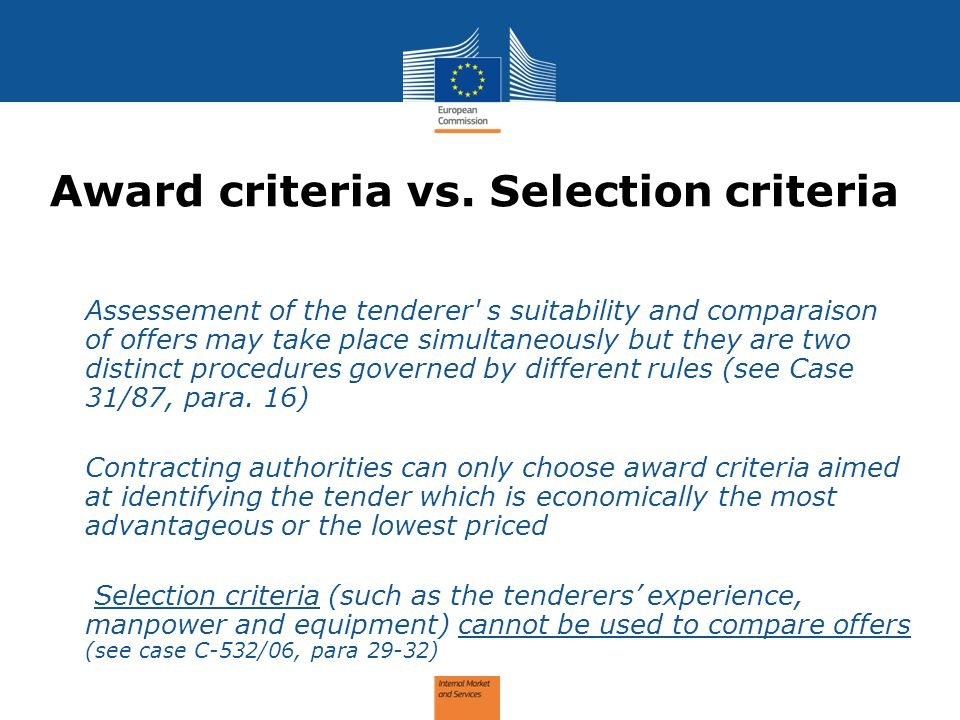 Award criteria vs. Selection criteria