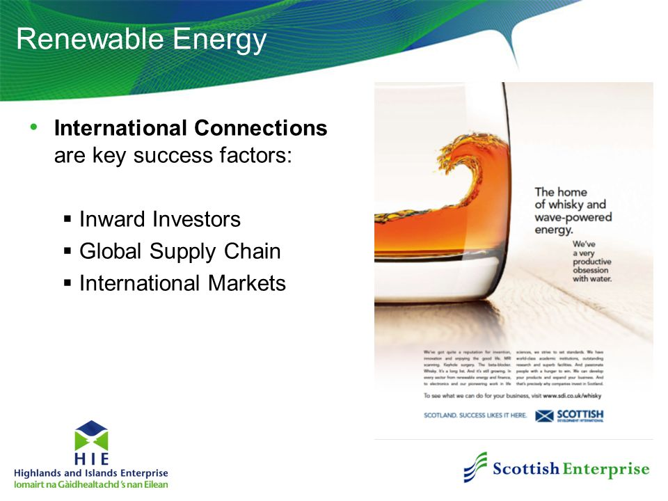 Renewable Energy International Connections are key success factors: