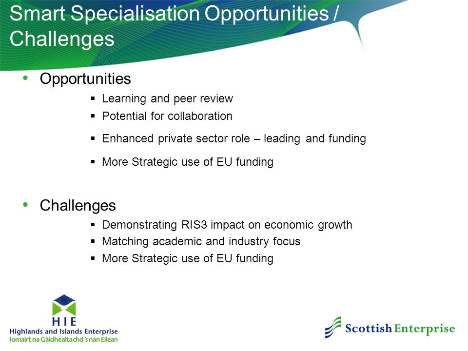 Smart Specialisation Opportunities / Challenges