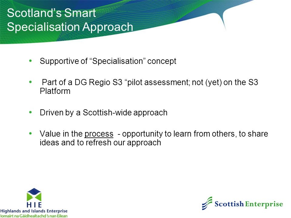 Scotland's Smart Specialisation Approach