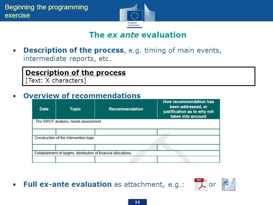 The ex ante evaluation Beginning the programming exercise