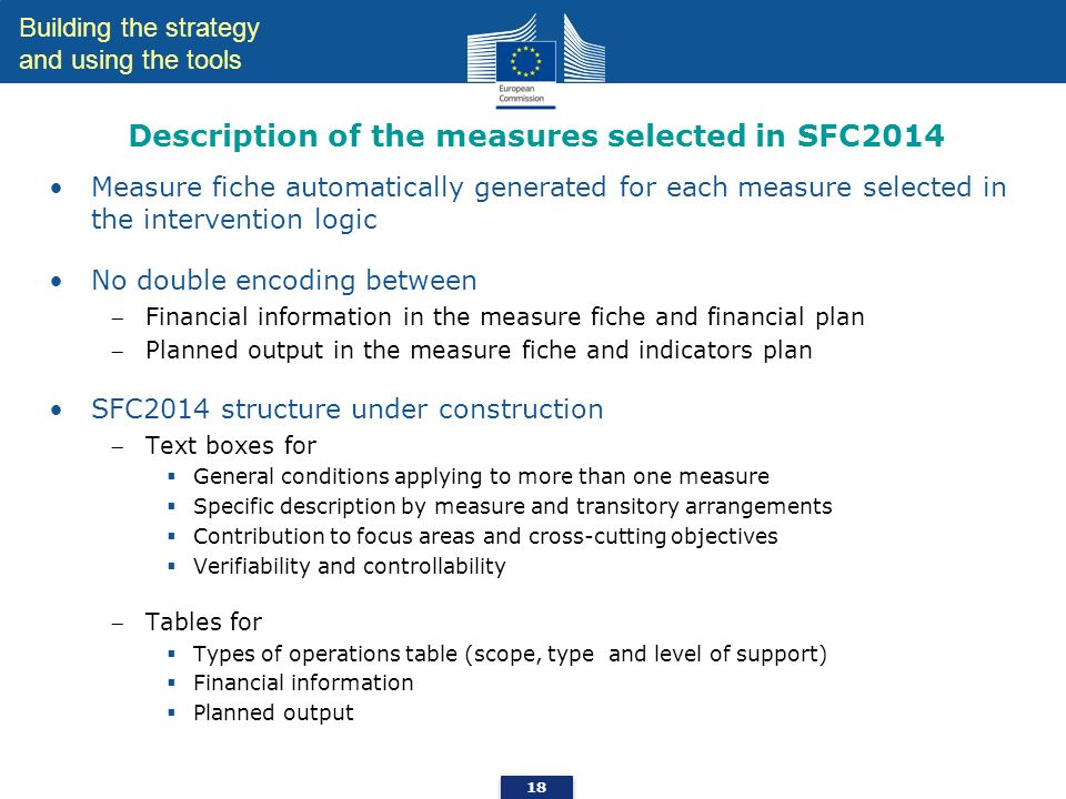 Description of the measures selected in SFC2014